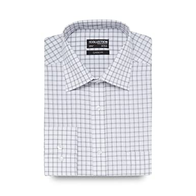 842e432414e66 The Collection Men White Large Square Checked Print Regular Fit Shirt 16.5:  The Collection: Amazon.co.uk: Clothing