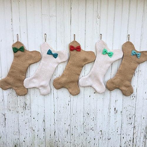 Dog Bone Christmas Stocking.Burlap Dog Bone Christmas Stocking With Bow Bow Tie Personalize With Letter