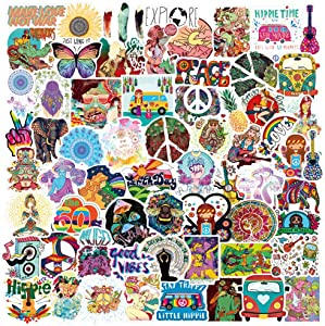 100PCS Peace Love Hippie Stickers for Water Bottle,Cute Funny Waterproof Vinyl Stickers Decals,Perfect for Hydro Flask, Laptop, Computer,Phone