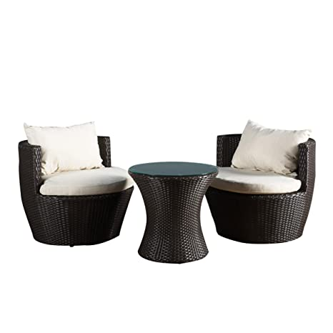 Astonishing Christopher Knight Home 296323 Kyoto Outdoor Patio Furniture Brown Wicker 3 Piece Chat Set W Cushions Home Interior And Landscaping Ponolsignezvosmurscom