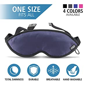 Lewis N. Clark Comfort Eye Mask + Sleep Aid to Block Light for Travel, Airplane, Hotel, Airport, Insomnia + Headache Relief with Adjustable Straps, Blue