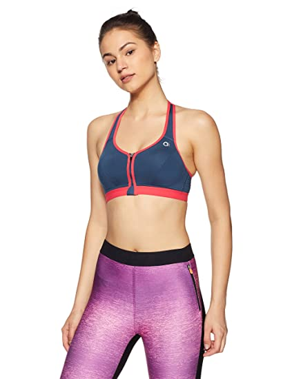 969c8d1e3 Amante Front Open Sports Bra (ABR17114 Dark Denim and Teaberry Small)