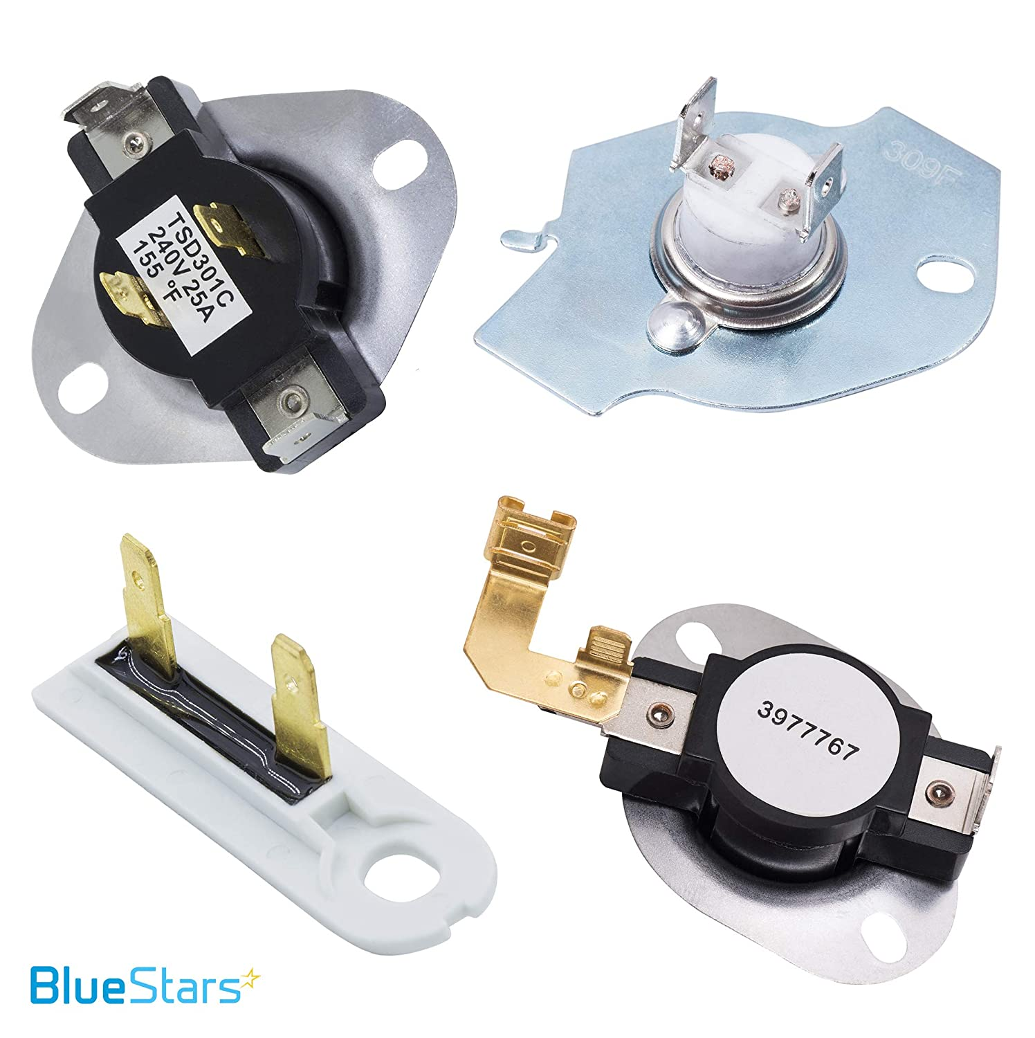 3387134 /& 3392519 /& 3977767 /& 3977393 Dryer Thermostat and Thermal Fuse Kit by Blue Stars Exact Fit for Whirlpool /& Kenmore Dryers