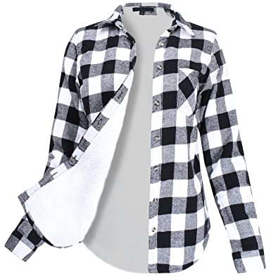 d08e6b6c Winter Flannel Plaid Button Down Top with Sherpa Fleece Lining Black Ivory  S Size