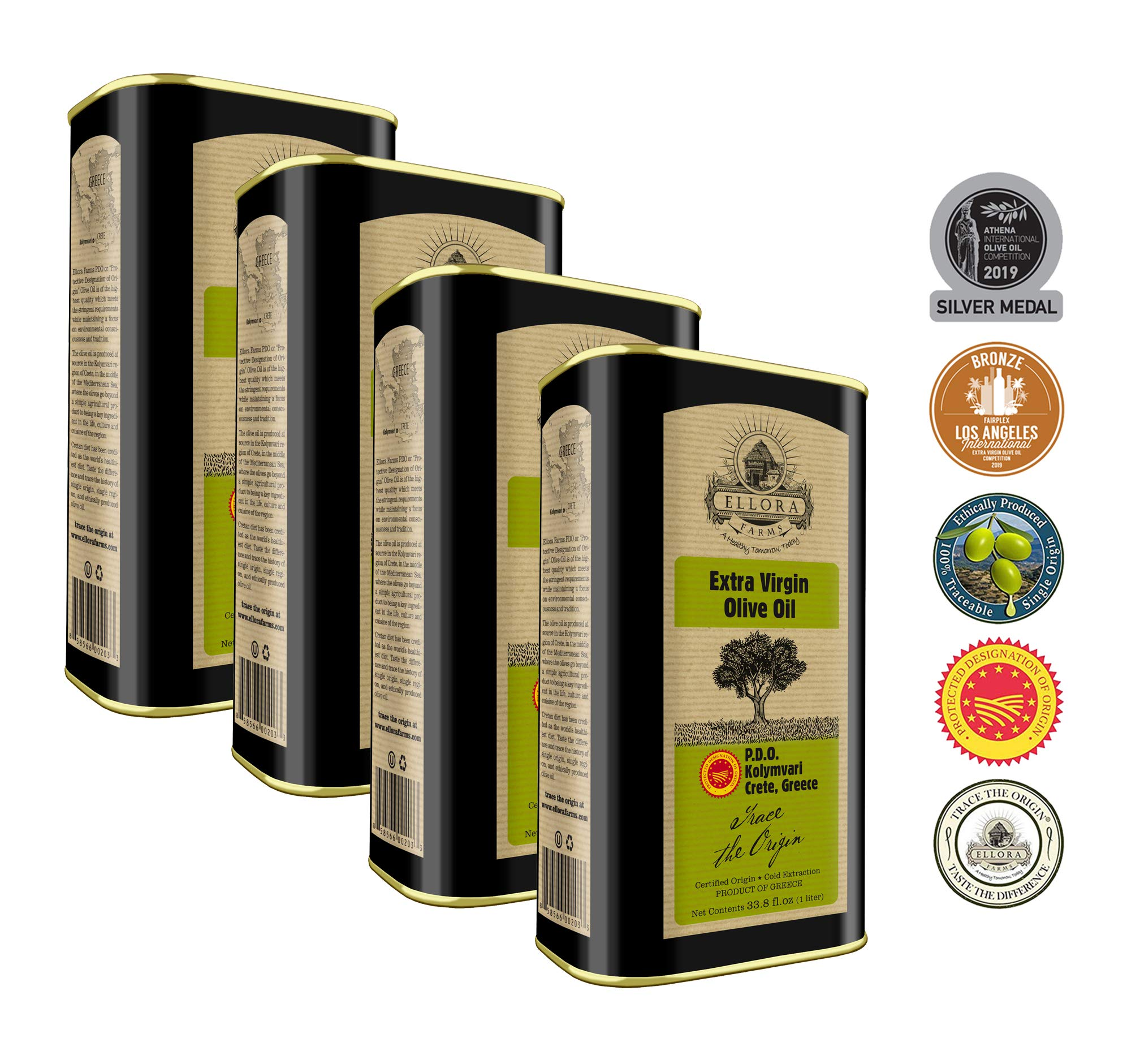 Ellora Farms | Certified PDO Extra Virgin Olive Oil | First Cold Press | Traceable Olive Oil | Born in Ancient Greece | Rich in Antioxidants | 1Ltr. X 4 Tins, total 135.2 FL oz. | Pack of 4 by Ellora Farms