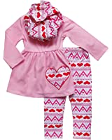 So Sydney Toddler Girls 3 Pc Valentine's Day Heart Print Holiday Outfit & Scarf