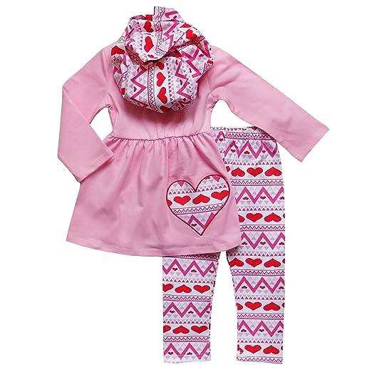 Amazon Com So Sydney Toddler Girls 3 Pc Valentine S Day Heart Print