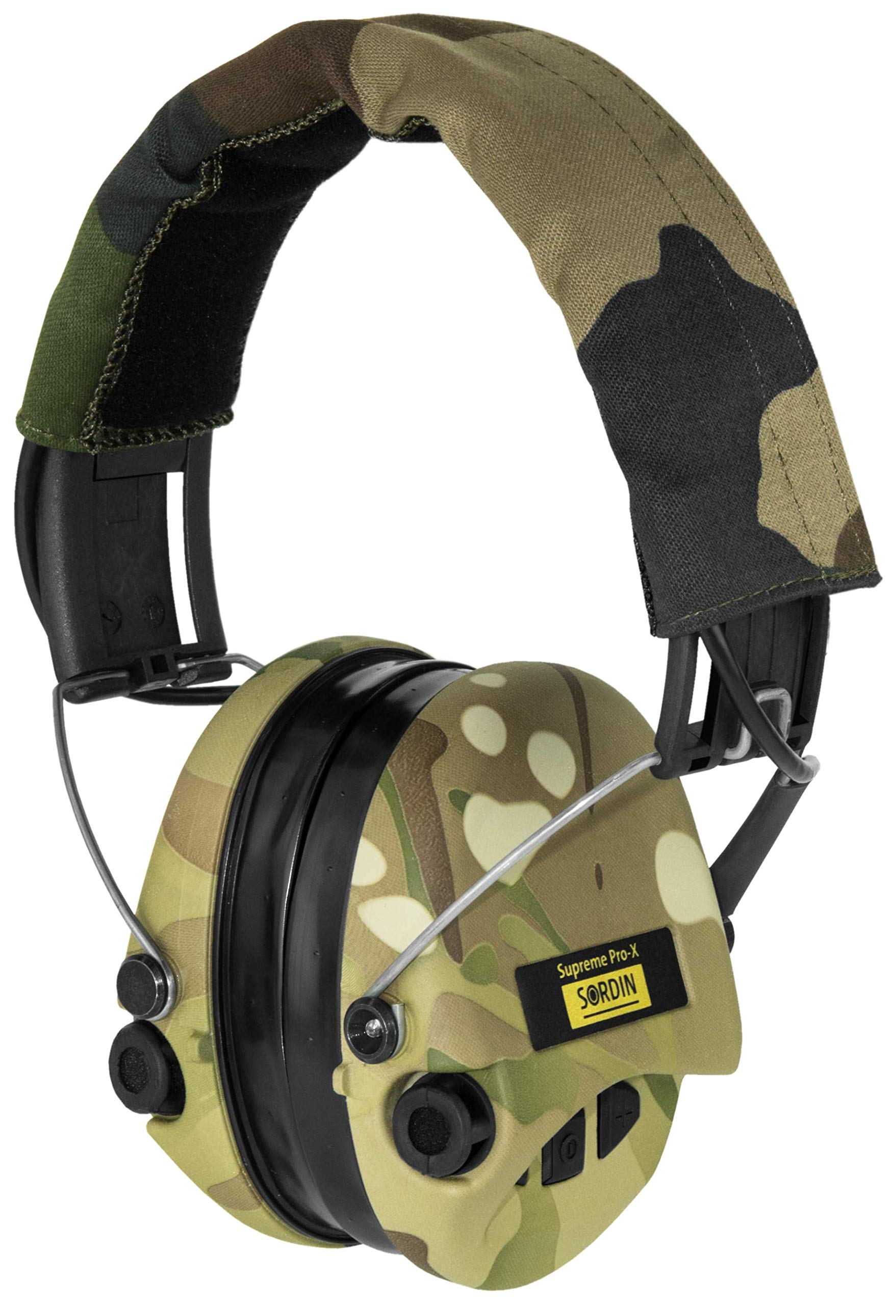 Sordin Supreme PRO X, Noise Reduction Active Safety Ear Muffs with LED light, Adjustable Hearing Protection for Shooting, Hunting, Work, Gel Seals, Camo Headband and Cups