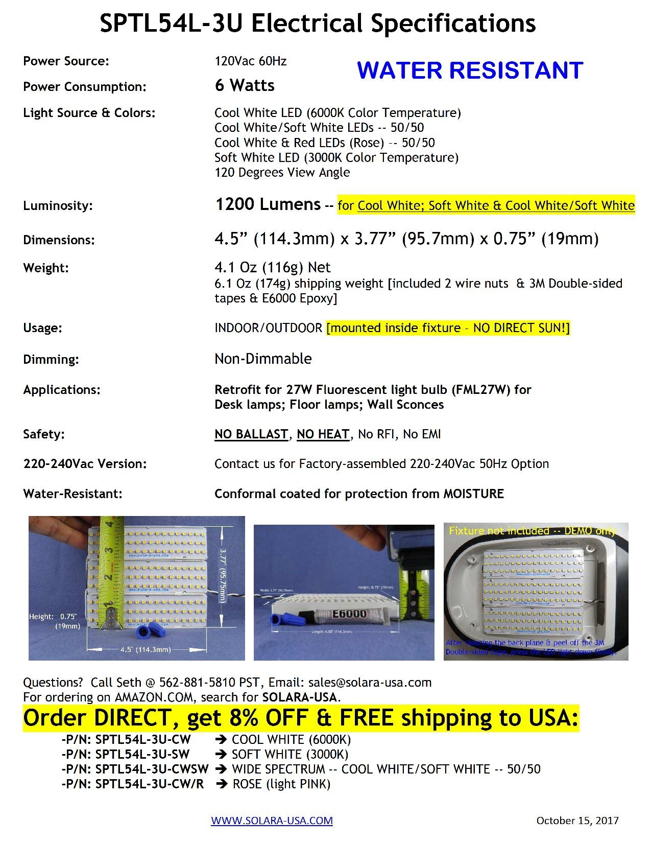 COOL WHITE LED Light (6000K) --1200Lumens 6Watts -- for Conversion of FML27W Fluorescent lamps. P/N: SPTL54L-3U-CW
