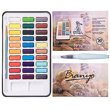 443d1339b189 bianyo Wasserfarbe Set – 30 verschiedene Farben Upgrade Farben – mit  Aquarell Papier