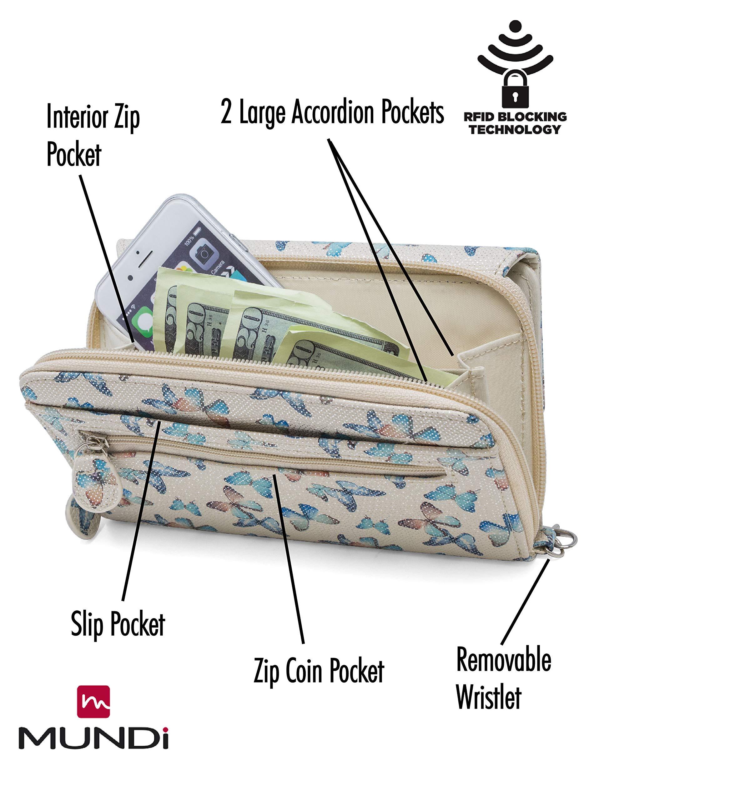 MUNDI Big Fat Womens RFID Blocking Wallet Clutch Organizer Removable Wristlet (Flutter) by Mundi (Image #3)