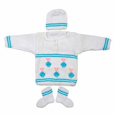 Maple Krafts 100% Wool Hand-knitted Sweater Baby Boys Girls Full Sleeve Dailywear Multicolor 0-1 Years