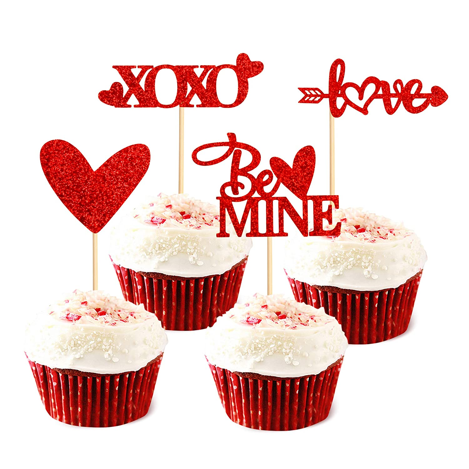 Ercaido 48 Pack Red Glitter Valentine's Day Cupcake Toppers Love Theme be Mine Wedding Engagement Cupcake Picks Bridal Shower Valentine's Party Cake Decorations