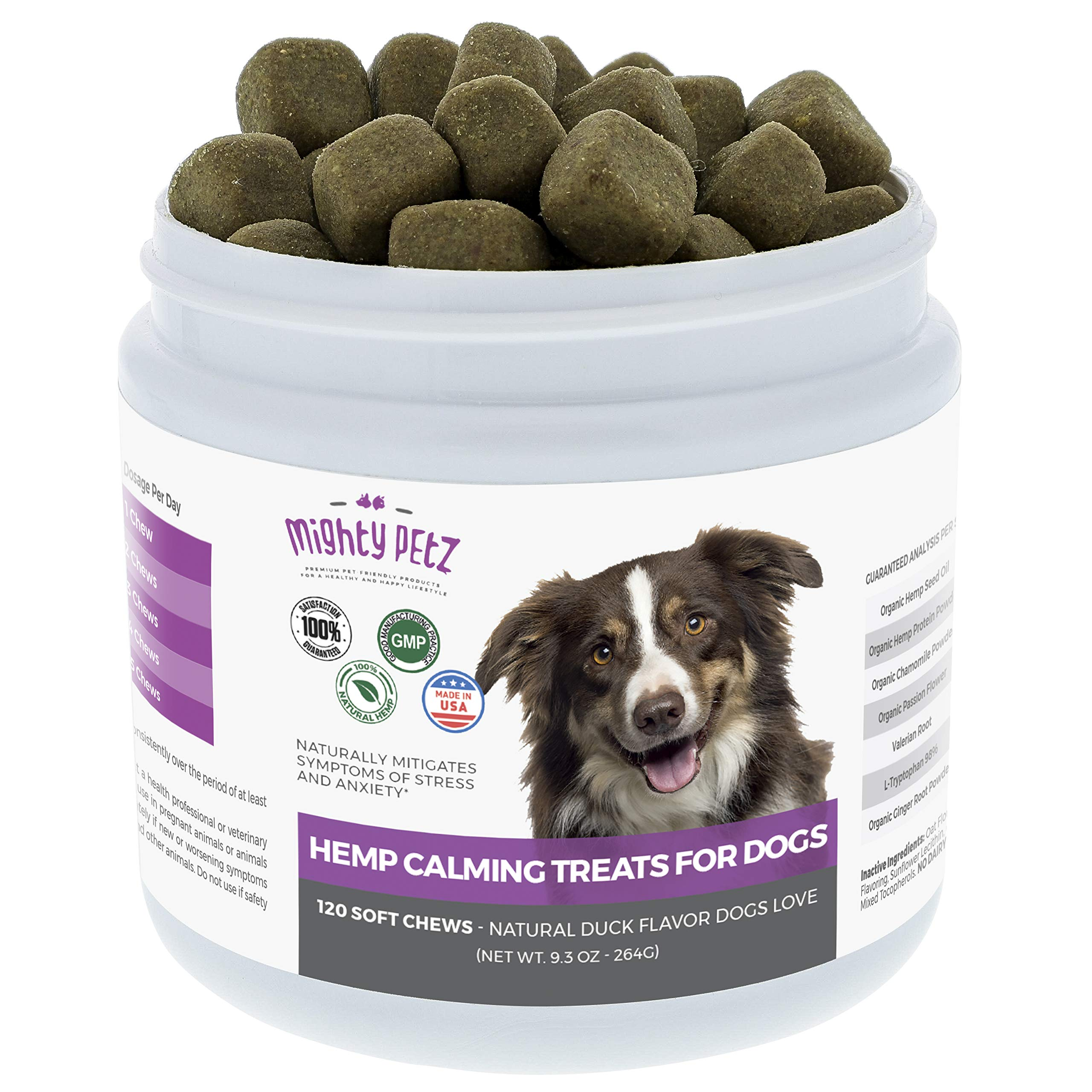 Hemp Calming Treats for Dogs – Natural Separation Anxiety Relief & Anti-Stress Chews! Behavior Support to Promote Relaxation, Composure and Aid Chewing, Barking and Storms. 120 Tasty Bites Dogs Love!