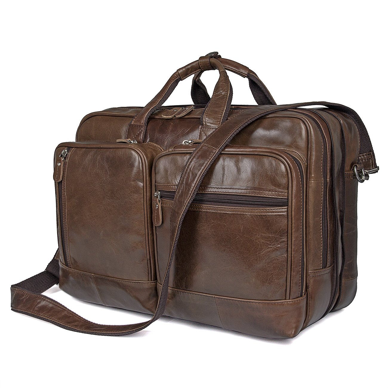 Polare Full Grain Leather 16.5'' Expandable Business Briefcase Laptop Travel Bag by Polare