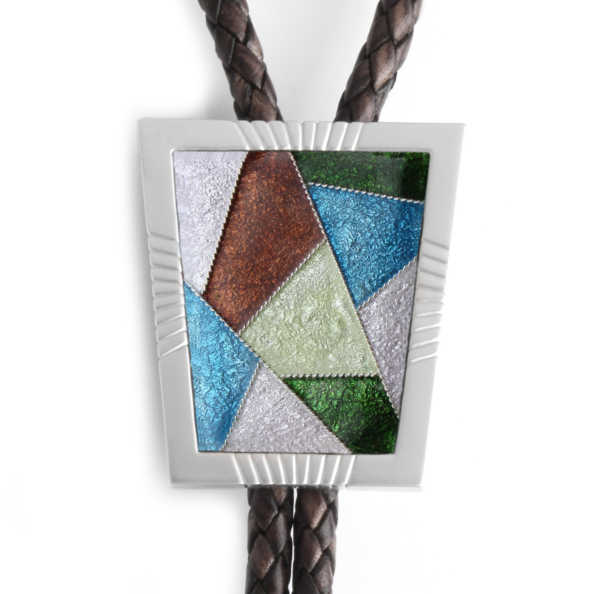 Bolo Tie Cloisonne Genuine Leather Sir Collection Patchwork II Get One More Cord