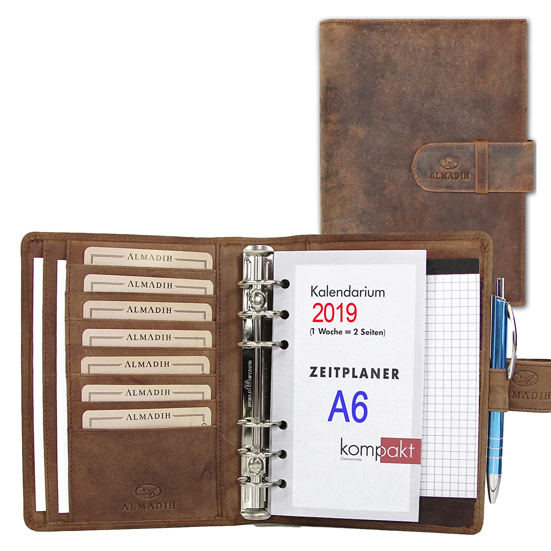 ALMADIH Carpeta de cuero A6 Calendario 2019 + Bloc de notas agenda Personal Organizador Diario documentos Cartera de conferencias Maletin Carpeta de anillas ...