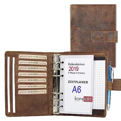 ALMADIH Carpeta de cuero A6 Calendario 2019 + Bloc de notas agenda Personal Organizador Diario documentos Cartera de conferencias Maletin Carpeta de ...