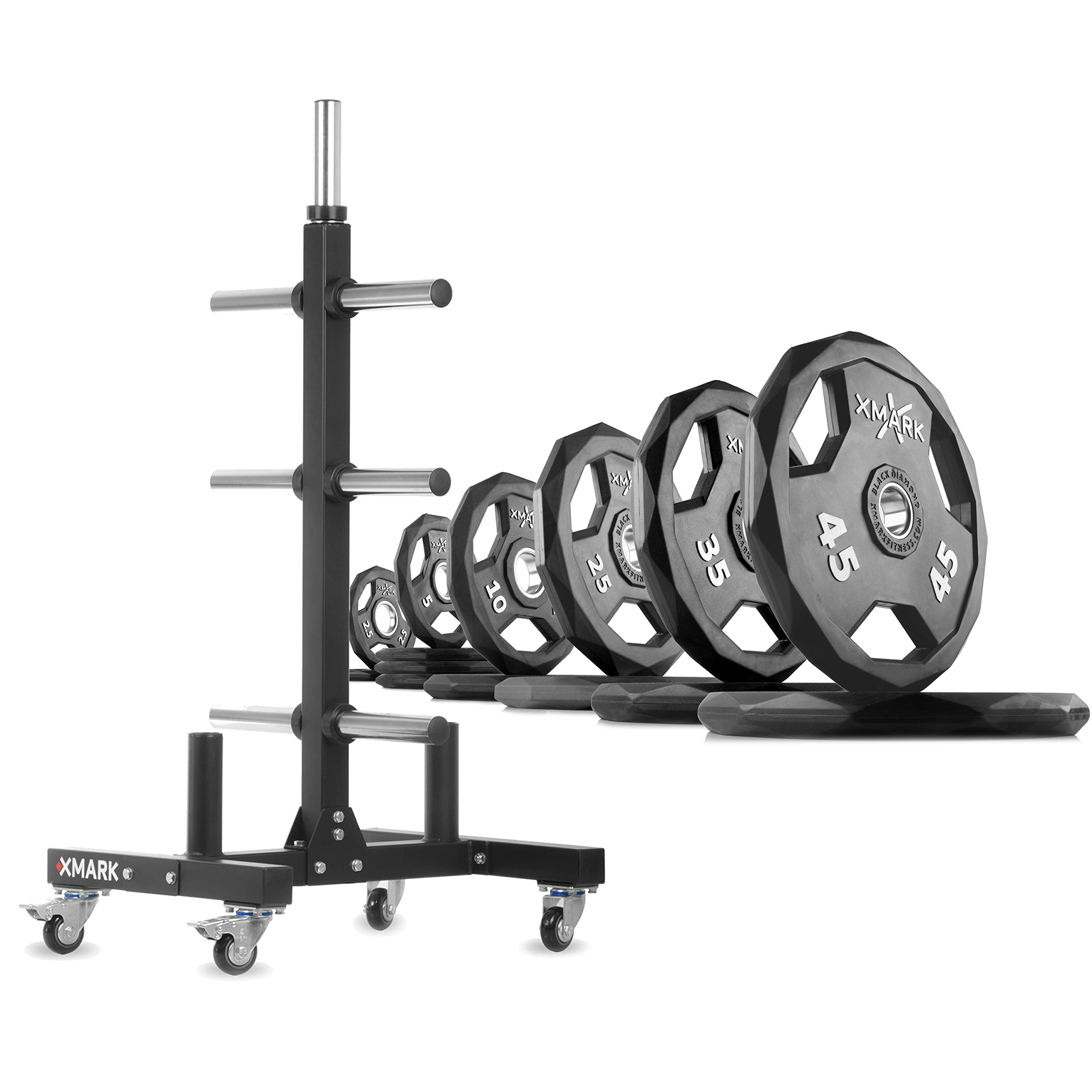 XMark XM-9055 Commerical Olympic Weight Tree Plus a 255 lb Set of Black Diamond Olympic Plates by XMark