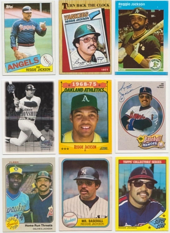 Reggie Jackson 50 Different Baseball Cards Featuring Reggie Jackson No Duplicates