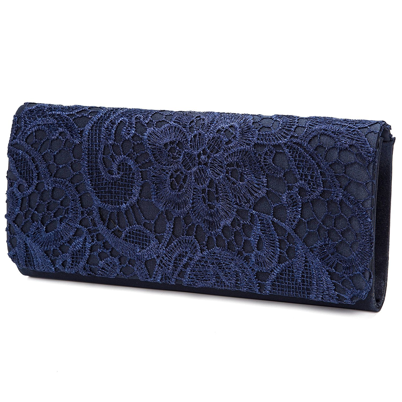 Women's Elegant Floral Lace Evening Clutch Bags Bridal Wedding Purse (Navy Blue)