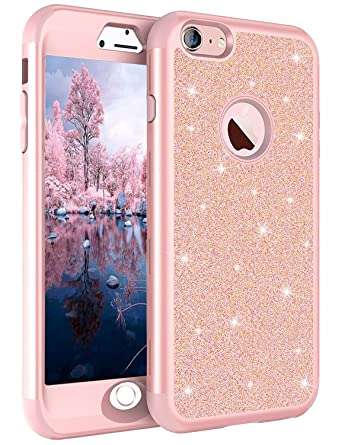 promo code 9358a 4246a fangke iPhone 6/6s Plus Case, 3 in 1 Hybrid Shockproof 360 Full Body  Protective Case for Girls (Cute Bling Sparkly Glitter Shiny) Heavy Duty  Armor ...