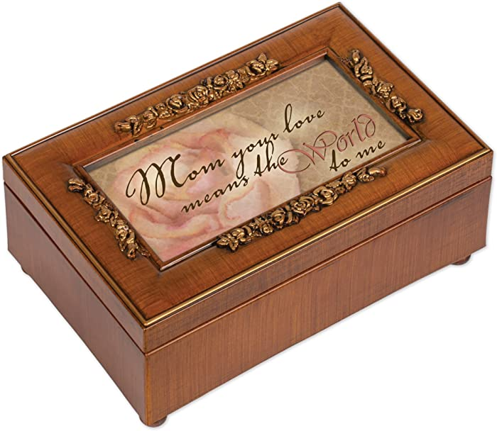 Cottage Garden Mom Your Love Means World to Me Woodgrain Embossed Jewelry Music Box Plays Wind Beneath My Wings