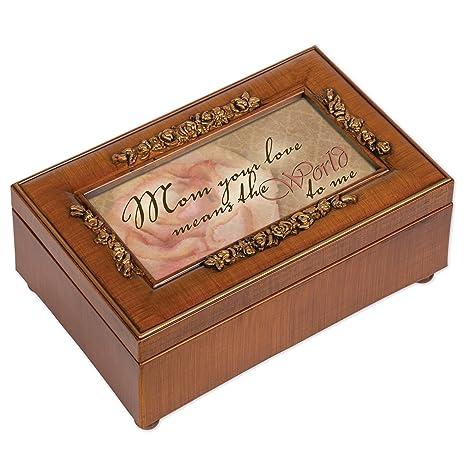 Caja de música para joyas, acabado de madera, diseño de rosa con texto en