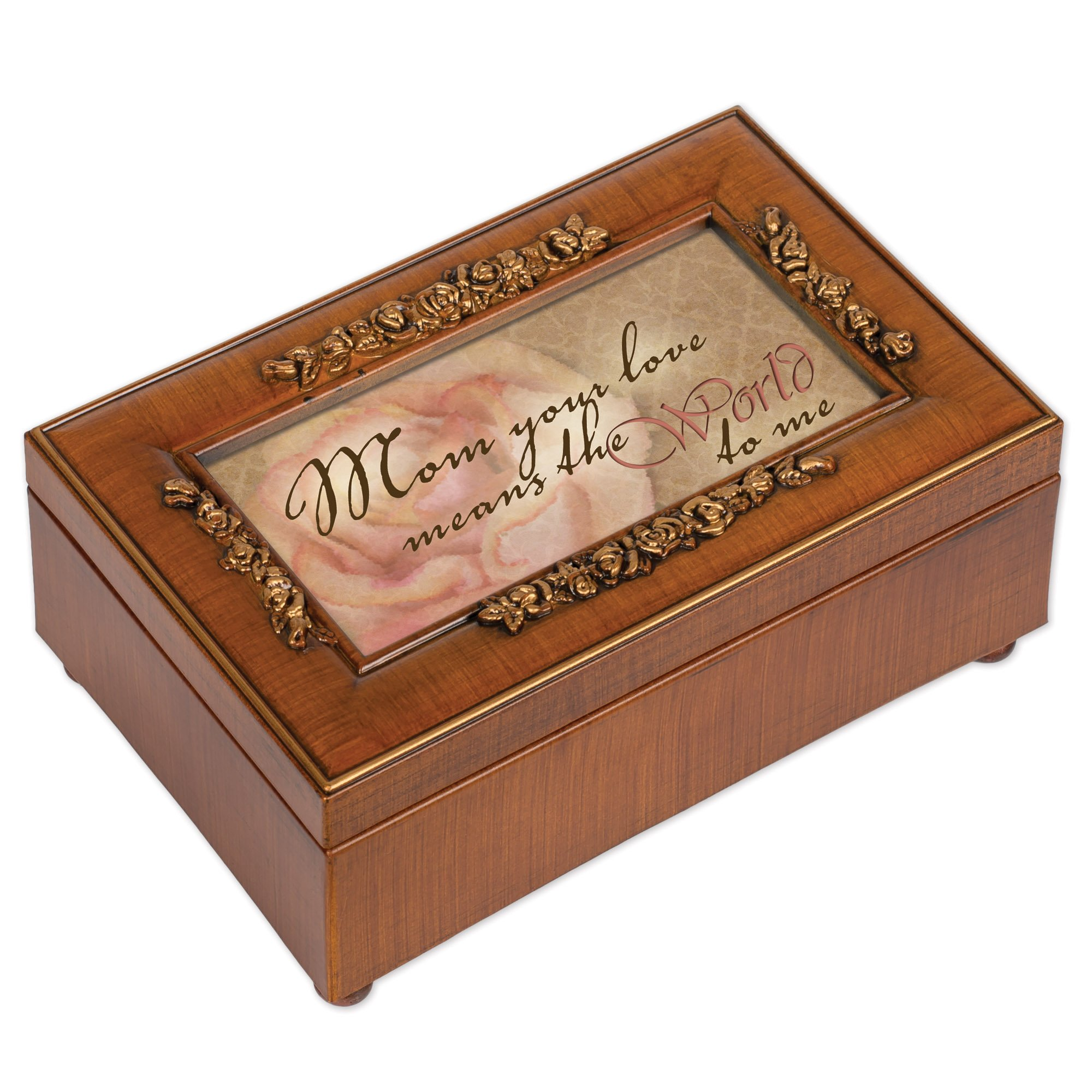 Mom Your Love Wood Finish Rose Jewelry Music Box - Plays Tune Wind Beneath My Wings by Cottage Garden (Image #1)