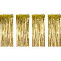 LELE 4 Pack Set Foil Curtains Metallic Fringe Curtains Shimmer Curtain Backdrop 1x 3 m for Birthday Wedding Party Christmas Decorations - Light Gold