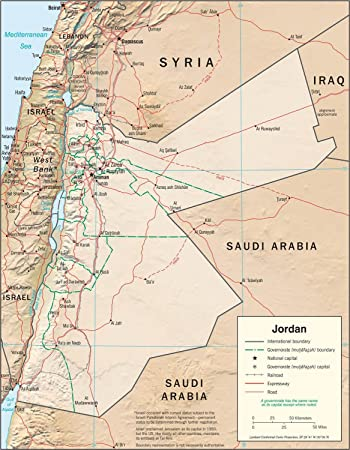 Amazoncom Map Poster Jordan Physical Map 11x14 Posters Prints