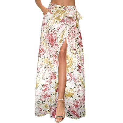 Afibi Womens Flowy Chiffon Summer Beach Wrap Split Maxi Skirts with Pockets at Women's Clothing store