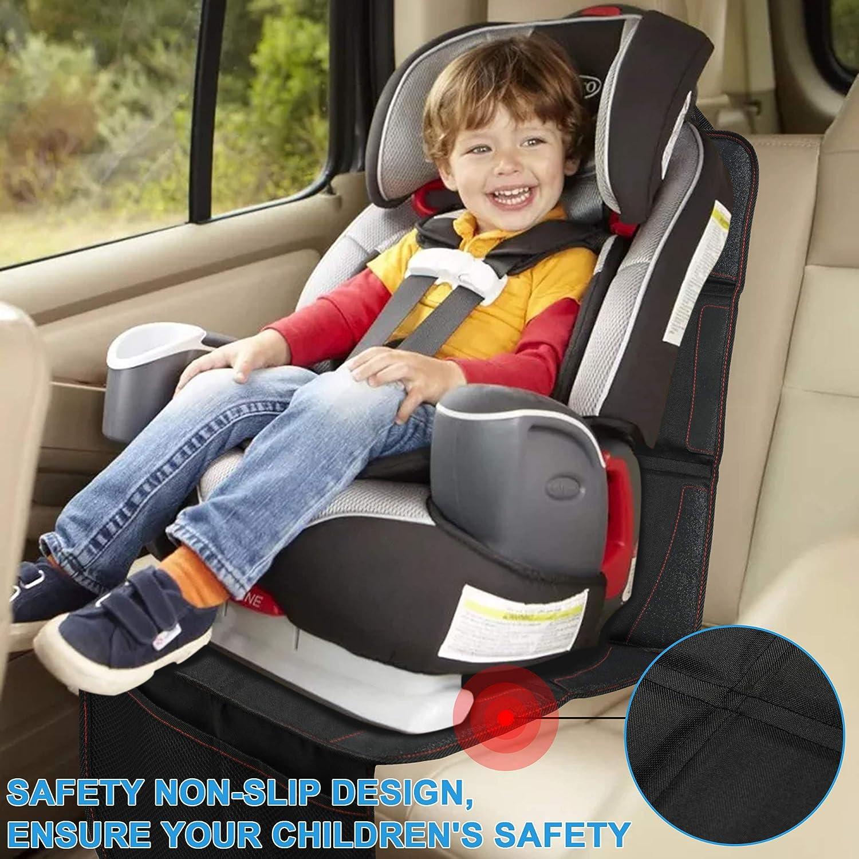 Wasserabweisend Extra lang in Universeller Passform Pflegeleicht mit 5 Netztaschen Wemk Autositzauflage Kindersitzunterlage mit Auto R/ückenlehnenschutz Rutschfest