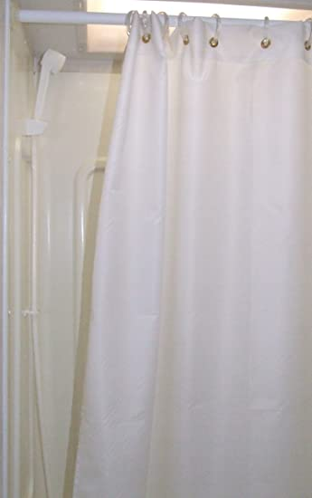 47x64 RV Shower Liner Shorter And Narrower Than Regular Shower Curtain  Color: Off White