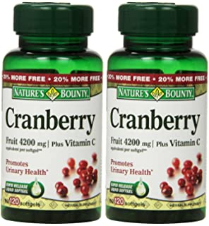 Natures Bounty Cranberry Fruit 4200 mg, Plus Vitamin C, 120 Softgels (Pack of