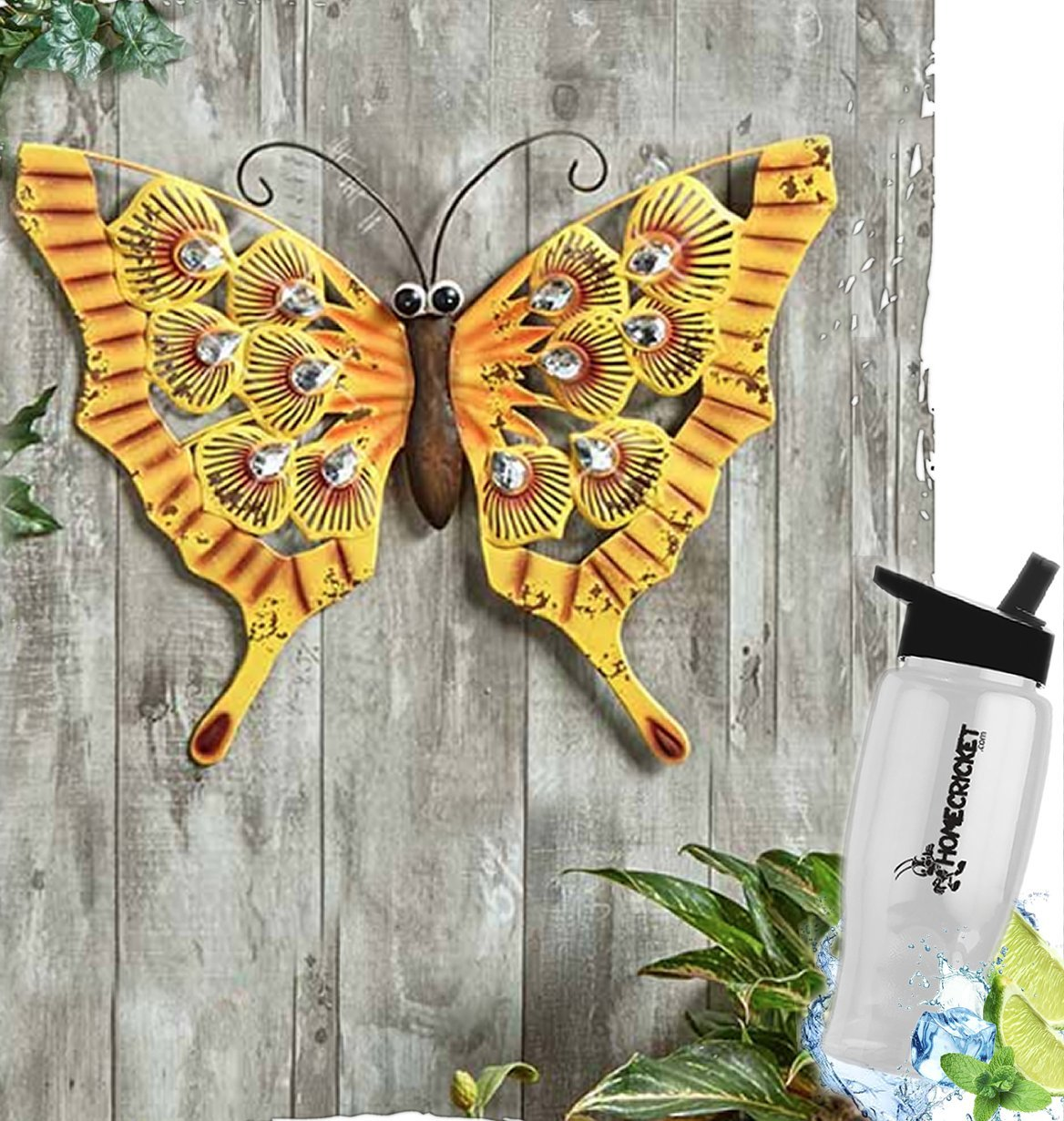 Gift Included- Embellished Jewels Wall Or Fence Butterfly Decor Accent Display Decorations + FREE Bonus Water Bottle by Home Cricket Homecricket