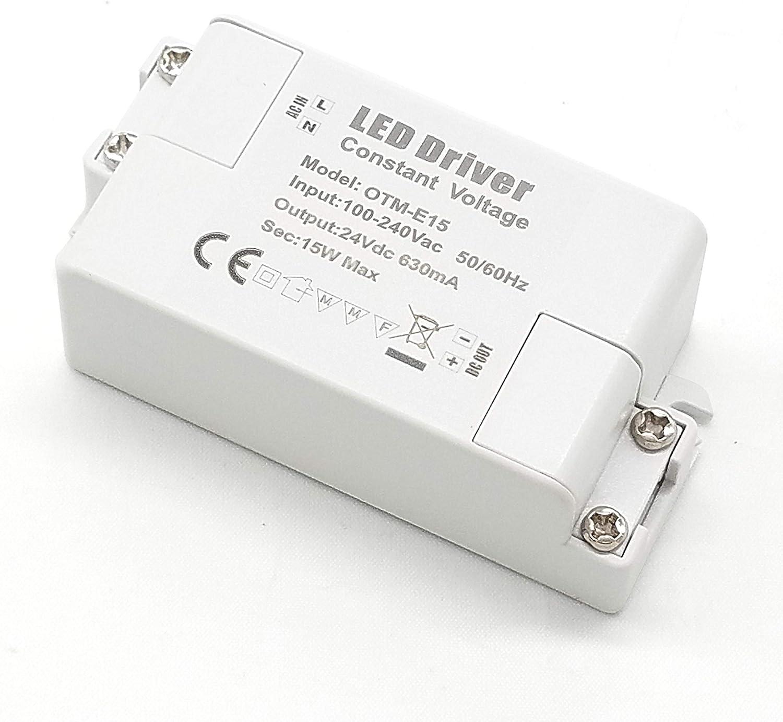 Adaptador LED VARICART IP44 24V 0.625A 15W, Fuente de Alimentación Conmutada Regulación AC DC, Transformador Constante Voltaje, Cámara CCTV, Tira de Luz, G4 MR11 MR16 GU5.3 Bombilla (Pack de 1)