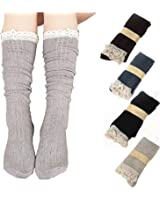4 Pack Women Cotton Knit Boot Socks Knee High Socks Stockings with Lace Trim, Free size, Beige Black Coffee Green