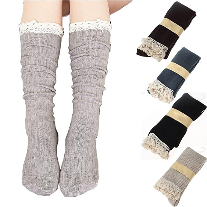 4 Pack Women Cotton Knit Boot Socks Knee High Socks Stockings with Lace Trim, Free size, Beige Black Coffee Green best boot socks