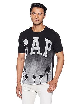 649e92fcb GAP Men's Printed Regular Fit T-Shirt (33799013701_151939100009_True  Black_XS)
