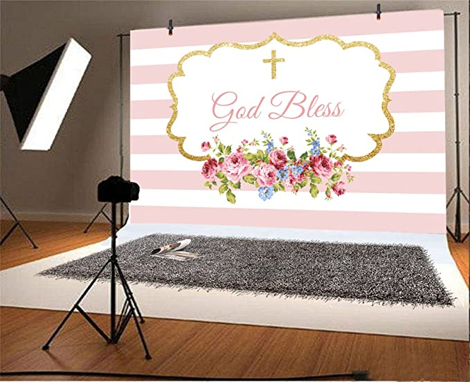 CSFOTO 6x4ft Background for Sweet Baby Shower God Bless Baptism Photography Backdrop Dreamy Girl Birthday Party Decor Pink Beautiful Floral ...