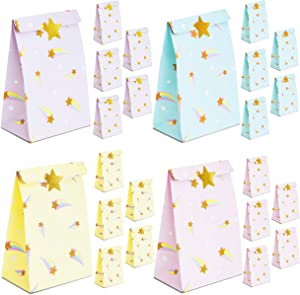 Rainbow Party Favor Bags with Gold Foil Stickers (8.5 x 5.15 In, 24 Pack)