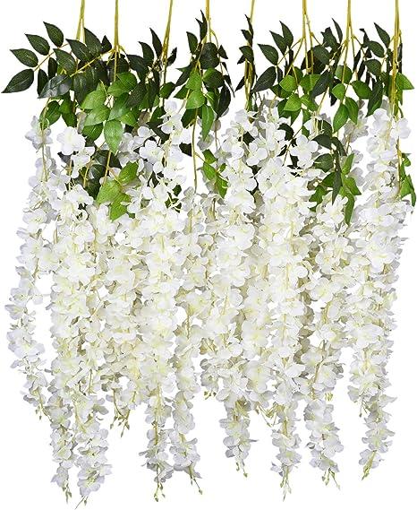 Hanging Wall Artificial Silk Fake Wisteria Flowers Garland Vines Garden Decor