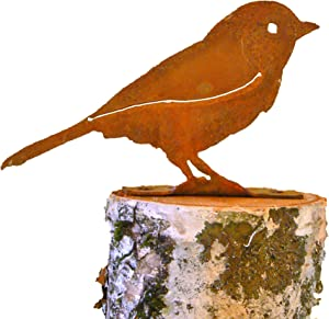 Elegant Garden Design Chickadee, Steel Silhouette with Rusty Patina