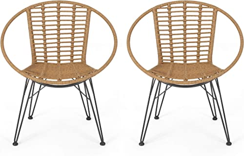 Great Deal Furniture Winnie Outdoor Wicker Dining Chairs Set of 2 , Light Brown and Black