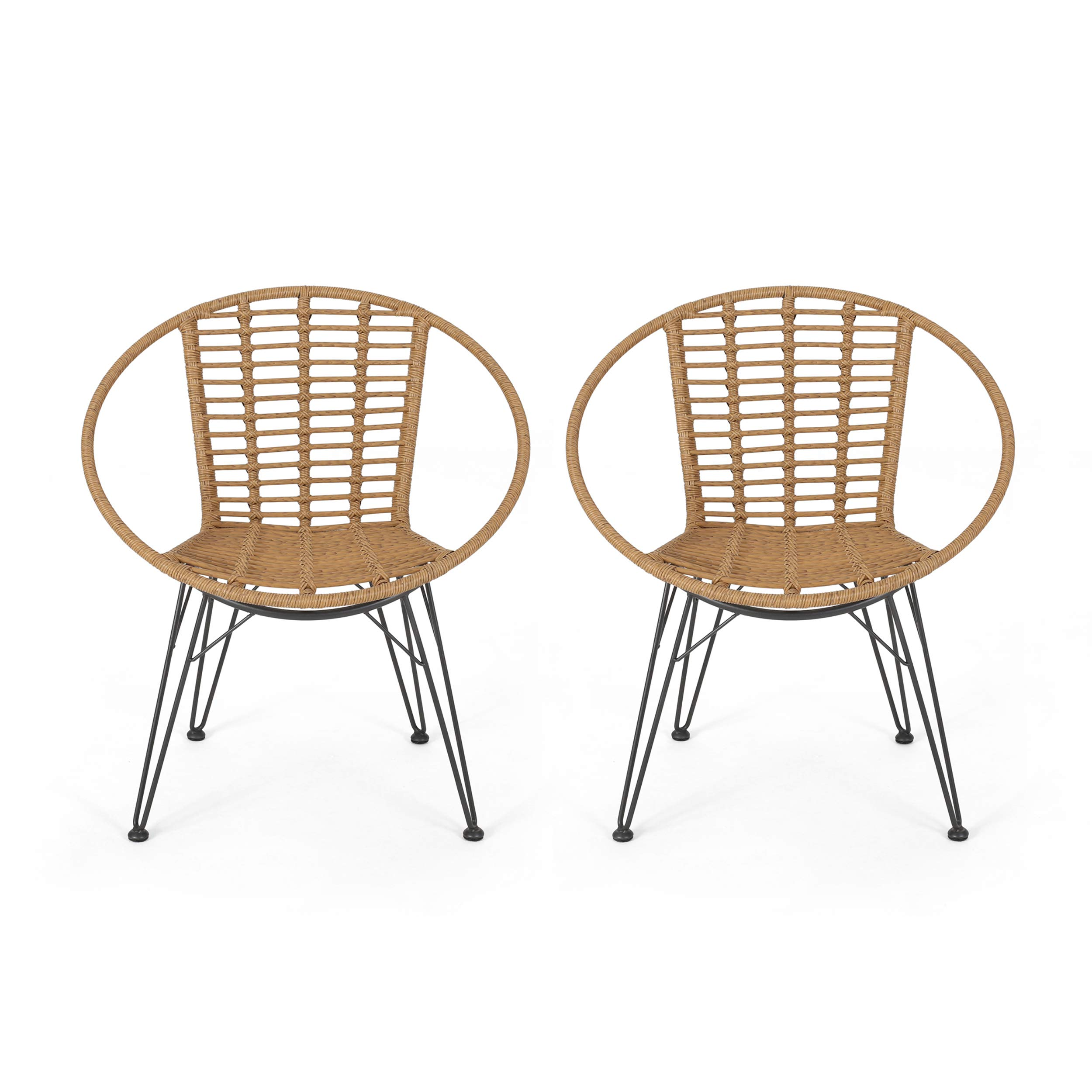 Great Deal Furniture Winnie Outdoor Wicker Dining Chairs (Set of 2), Light Brown and Black by Great Deal Furniture