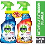 Dettol Orange Healthy Kitchen Power Cleaner Trigger Spray 500 ml And Healthy Bathroom Power Cleaner Trigger, 500 ml