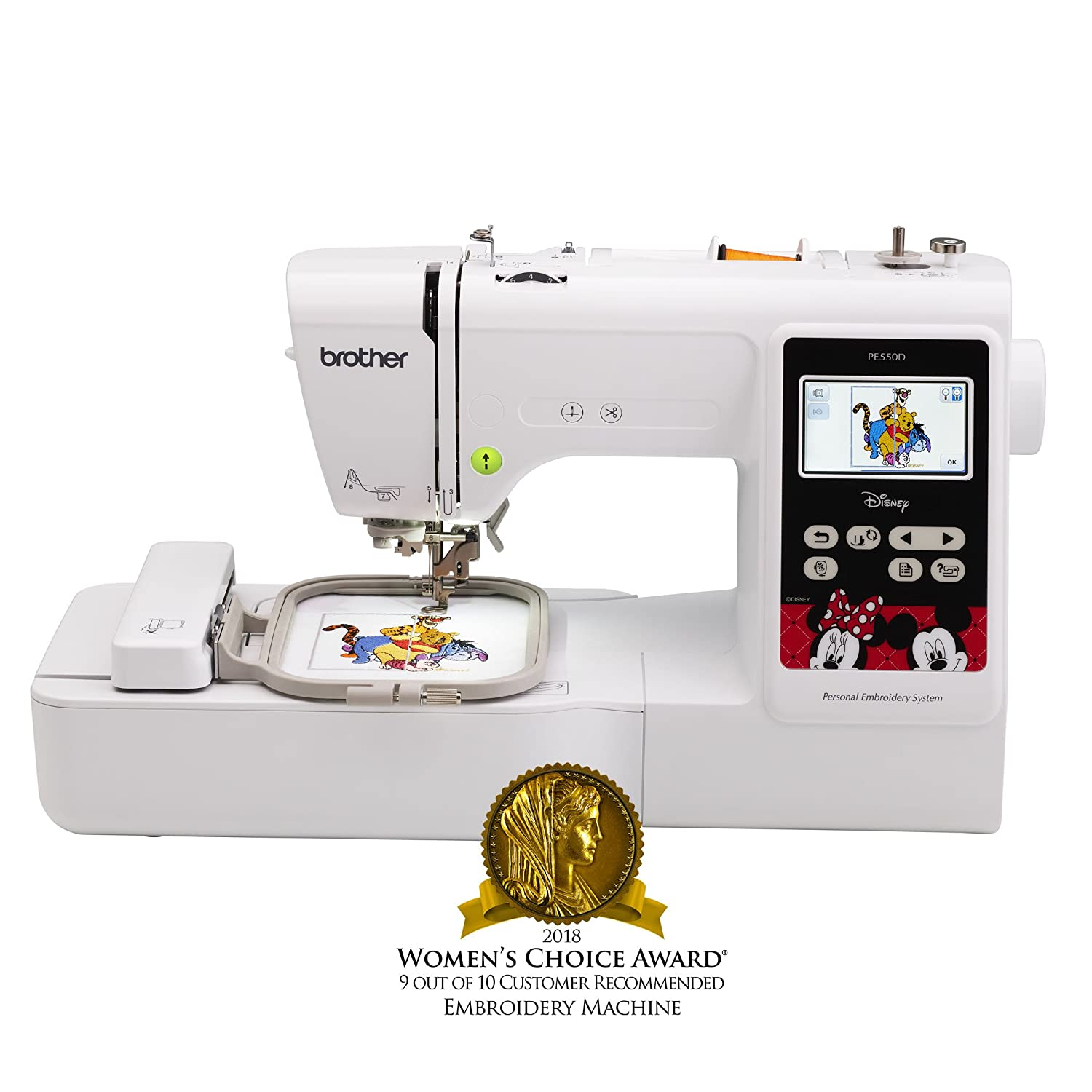 Brother Embroidery Machine, PE550D, 125 Built-In Designs, 45 Disney  Designs, Large Color Touch LCD Display, Automatic Needle Threader, 25-Year  Limited