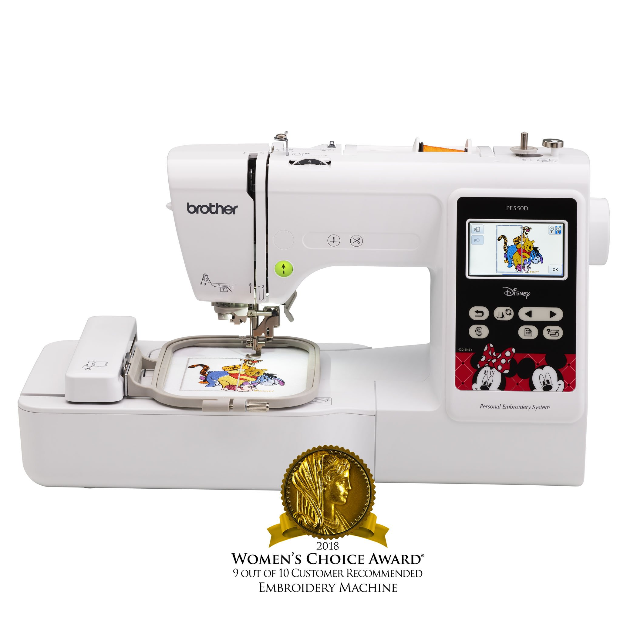 Brother Embroidery Machine, PE550D, 125 Built-In Designs, 45 Disney Designs, Large Color Touch LCD Display, Automatic Needle Threader, 25-Year Limited Warranty by Brother