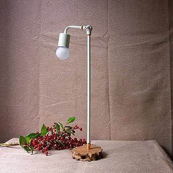 De madera y metal mesa de lámpara con hecha a mano ...